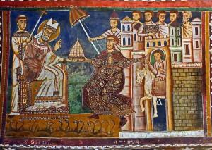"""Scena con la """"Donazione di Costantino"""" nel ciclo di affreschi (1248) della Cappella di San Silvestro, basilica dei Quattro Santi Coronati - Roma"""
